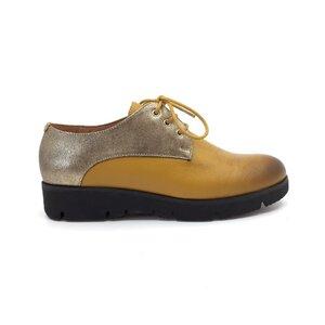 Pantofi casual dama din piele naturala, Leofex - 200 Galben Auriu Box
