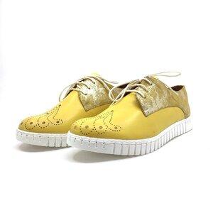 Pantofi casual dama din piele naturala,Leofex - 236 galben  box