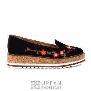 Pantofi casual dama din piele naturala,Leofex - 024-2 negru velur