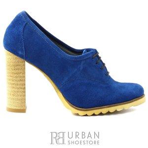 Pantofi casual dama din piele naturala - 1001 albastru velur