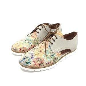 Pantofi casual dama, perforati din piele naturala,Leofex - 022 Bej Mozaic