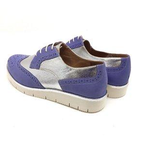 Pantofi casual dama din piele naturala,Leofex - 173 Mov Argintiu