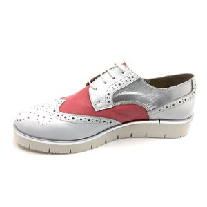Pantofi casual dama din piele naturala,Leofex - 173 Roz Alb Argintiu