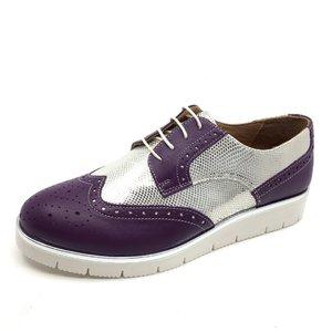 Pantofi casual dama din piele naturala,Leofex - 173 Violet Argintiu