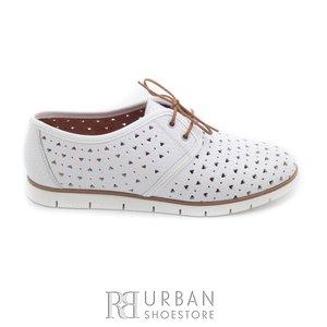 Pantofi casual dama, perforati din piele naturala - 406-1 alb
