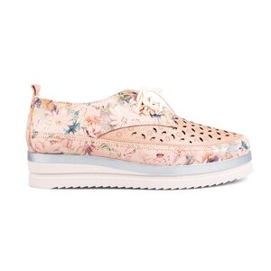 Pantofi casual dama, perforati din piele naturala Leofex-240 Nude Box Floral