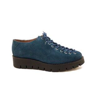 Pantofi casual dama cu siret pana in varf din piele naturala,Leofex- 194 blue inchis velur