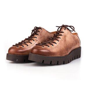 Pantofi casual dama cu siret pana in varf din piele naturala,Leofex- 194 Cacao