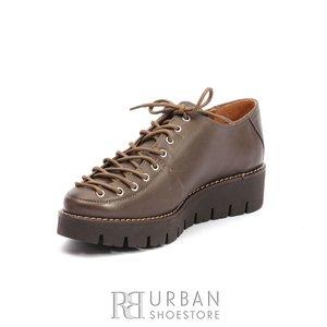 Pantofi casual dama cu siret pana in varf din piele naturala,Leofex- 194 Taupe Box