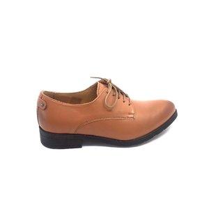 Pantofi casual dama din piele naturala, Leofex - 432 Cognac Box