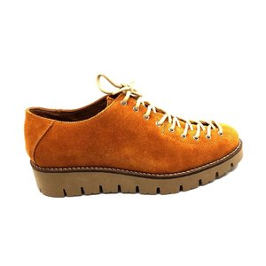 Pantofi casual dama cu siret pana in varf din piele naturala,Leofex - 194 B7 Mustar