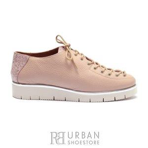 Pantofi casual dama cu siret pana in varf din piele naturala, Leofex- 194-1 Roz Flori Sidefat Presat