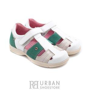 Pantofi din piele naturala - Bella alb–verde