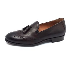 Pantofi eleganti barbati din piele naturala cu ciucuri,Leofex - 527 Mogano box