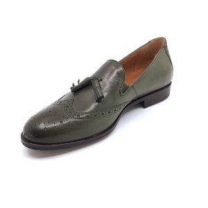 Pantofi eleganti barbati din piele naturala cu ciucuri, Leofex - 527 Verde Box