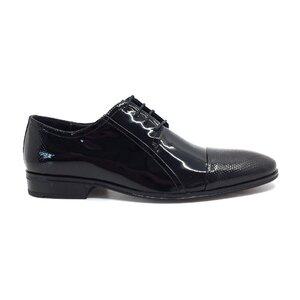 Pantofi eleganti barbati din piele naturala,Leofex - 743 negru lac perforat