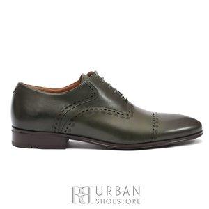 Pantofi eleganti barbati, Oxford din piele naturala, Leofex- 748  Verde Box