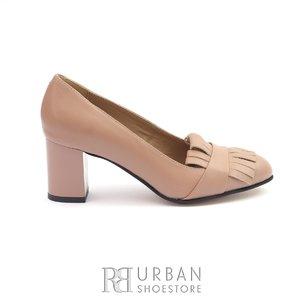 Pantofi eleganti dama cu franjuri din piele naturala- 244 Capucino