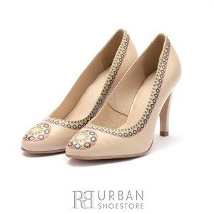 Pantofi eleganti dama cu motiv popular din piele naturala - 0294 A Bej Box