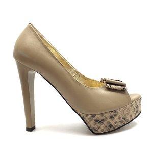 Pantofi eleganti dama cu platforma din piele naturala - 264 Bej Sarpe