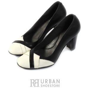 Pantofi eleganti dama din piele naturala  - 033 negru-crem
