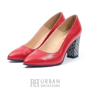Pantofi eleganti dama din piele naturala  - 558-TGRS ROSU box