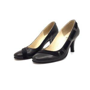 Pantofi eleganti dama din piele naturala - 564 negru box+velur
