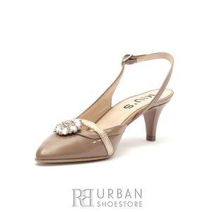 Pantofi eleganti dama din piele naturala  - 626/2 LNU NH Nude Lac