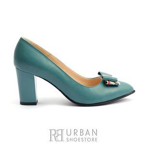 Pantofi eleganti dama din piele naturala  - 814 Turcoaz Box