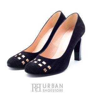Pantofi eleganti dama din piele naturala - f77 negru velur