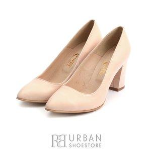 Pantofi eleganti dama din piele naturala, Leofex - 558 TG Nude Box