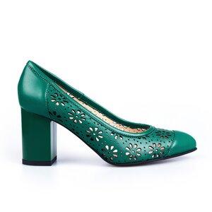 Pantofi eleganti dama perforati din piele naturala  - 544-1 verde box