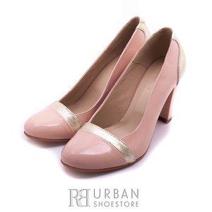 Pantofi eleganti de piele lacuita - 510 nude auriu