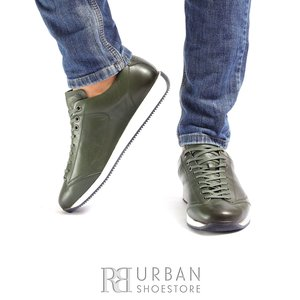 Pantofi sport barbati din piele naturala cu siret pana in varf, Leofex - 517 Verde box
