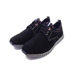 Pantofi sport barbati din piele naturala, Leofex - 942  Negru Velur