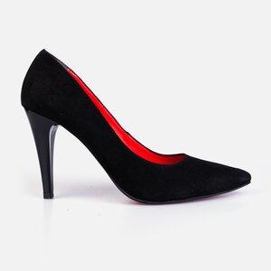 Pantofi stiletto dama din piele naturala - 173 Negru velur