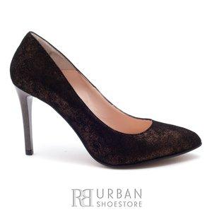 Pantofi stiletto dama din piele naturala - 2016-104B Aramiu Sidefat velur