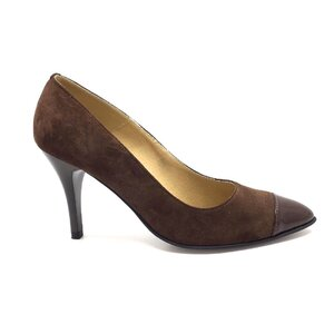 Pantofi stiletto dama  din piele naturala, Leofex - 576 maro velur lac