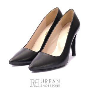 Pantofi stiletto din piele naturala - f 60 negru box