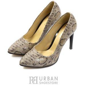 Pantofi stiletto dama din piele naturala - 733 bej sarpe lac