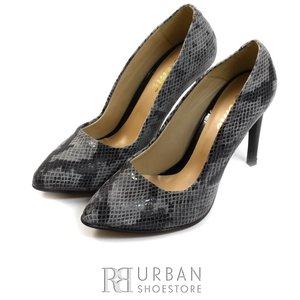 Pantofi stiletto dama din piele naturala  - 733 gri sarpe lac