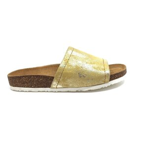 Papuci dama din  piele naturala, Leofex - 235 Galben box sidefat