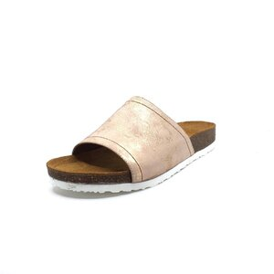 Papuci dama din  piele naturala, Leofex - 235 Roz box sidefat