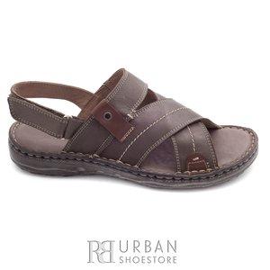 Sandale barbati din piele naturala, Leofex - 799 taupe