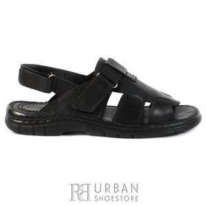 Sandale barbati din piele naturala, Leofex - 323 negru box