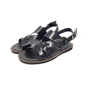 Sandale barbati din piele naturala, Leofex - 949 Negru Box