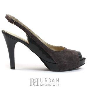Sandale cu platforma dama din piele intoarsa - 447 gri