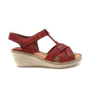 Sandale cu platforma dama din piele naturala,Leofex - 214 Rosu box