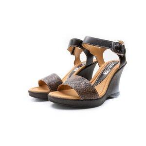 Sandale cu platforma dama din piele naturala, Leofex - 339 maro  + sarpe