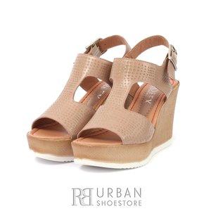 Sandale cu platforma dama din piele naturala- 165 Taupe Box